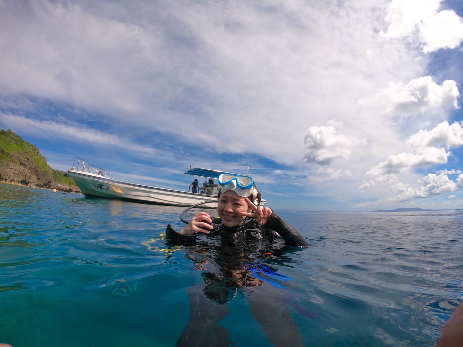 沖縄 恩納村の青の洞窟に久しぶりの体験ダイビング!
